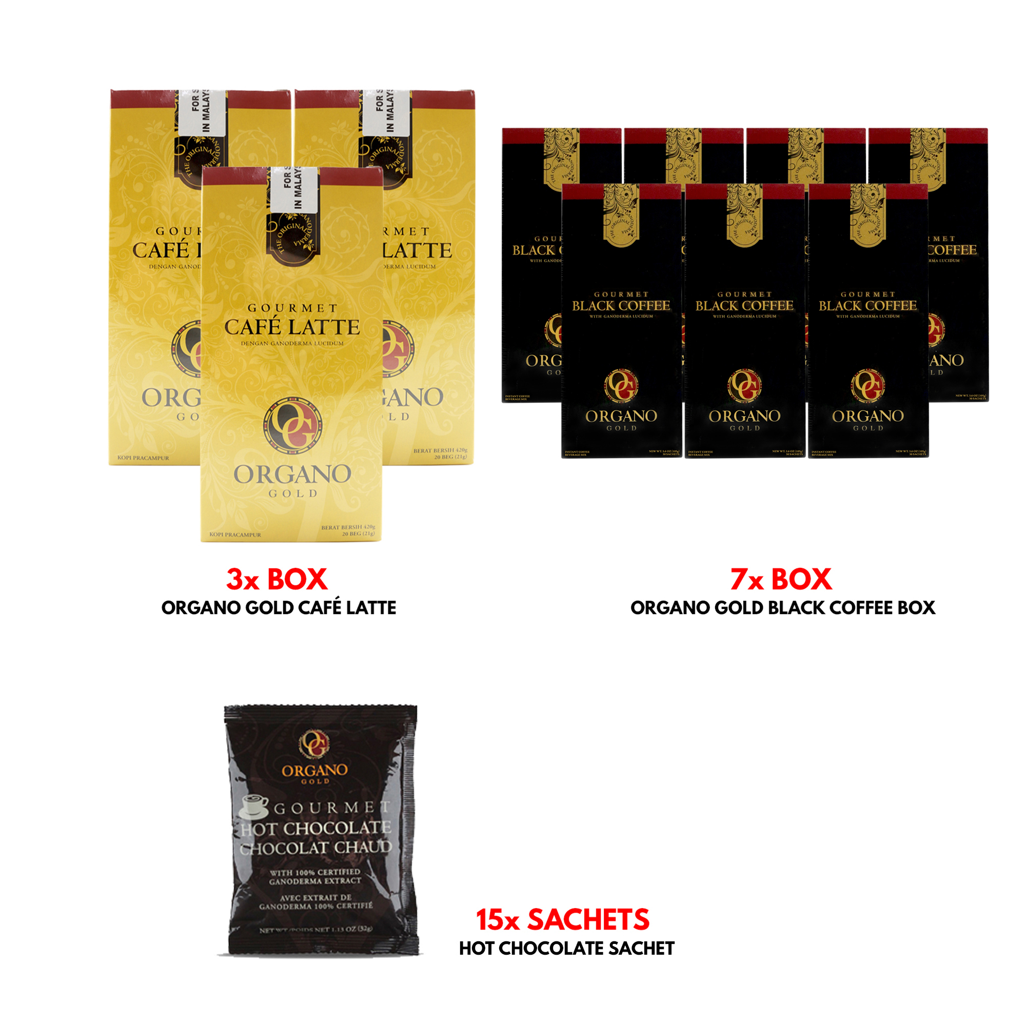 Organo Gold Cafe Latte Gourmet Coffee 3 Boxes + Organo