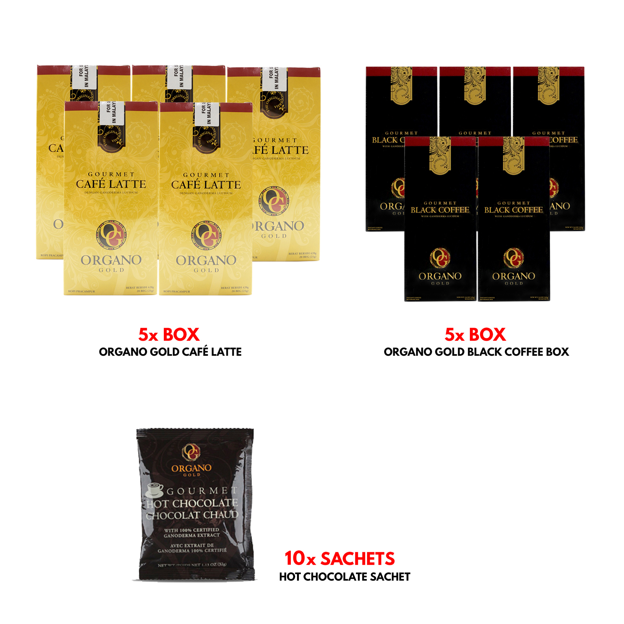 Organo Gold Cafe Latte Gourmet Coffee 5 Boxes + Organo