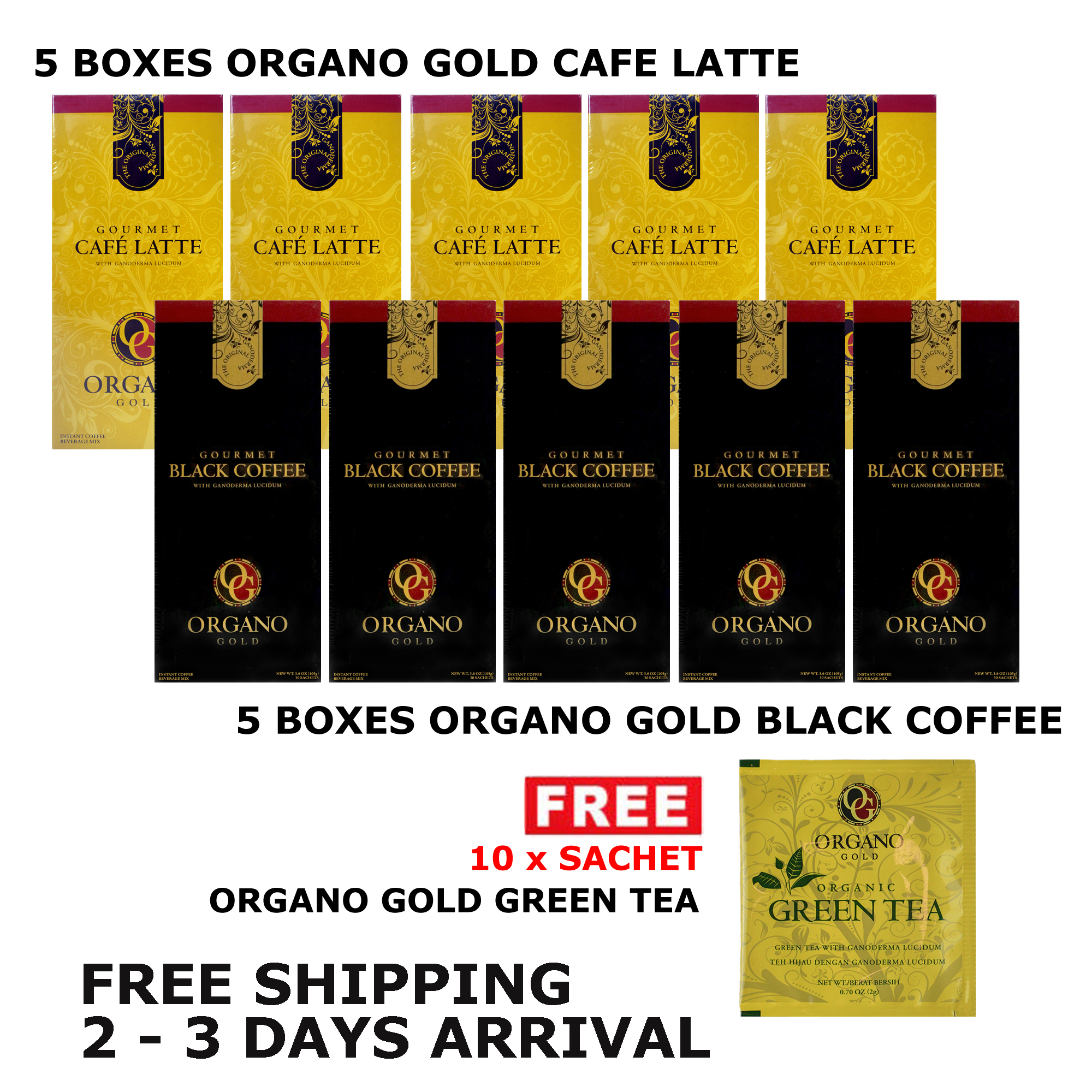 Organo Gold Cafe Latte 5 Box + O Gold Black Coffee 5 Boxes